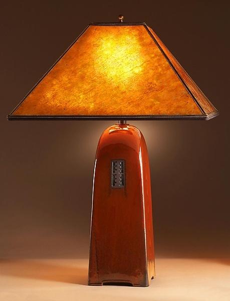 Russet Lamp with Mica Shade: Jim Webb: Ceramic Lamp - Artful Home
