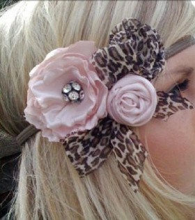 Pink Roses & Leopard Bow Headband .