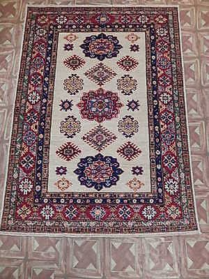 Handmade Area Rug 4' x 6' Super Kazak hand-spun wool Carpet Cheap Rugs online