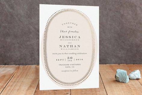 Gold Portrait Foil-Pressed Wedding Invitations by Phrosne Ras at minted.com