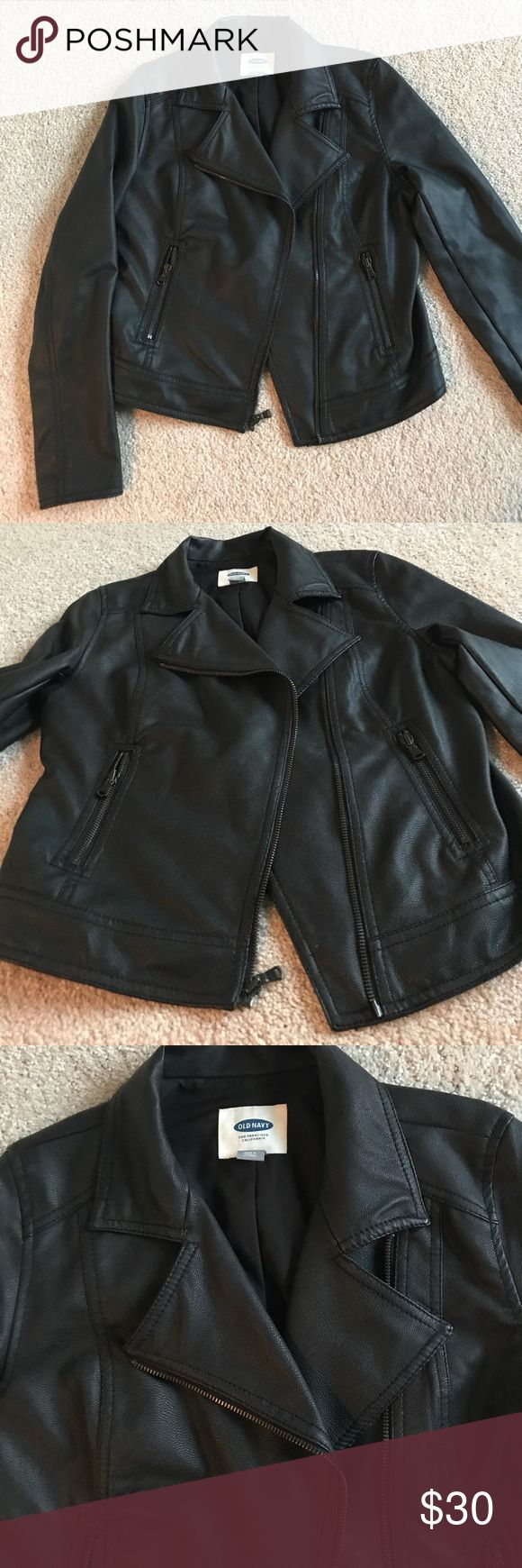 Black Faux Leather Moto Jacket This is a GREAT faux leather jacket. If it still fit me I would be wearing it all the time!! Love the moto look and it doesn't look cheap. No signs of wear, excellent used condition. Make me an offer if you're interested! Old Navy Jackets & Coats