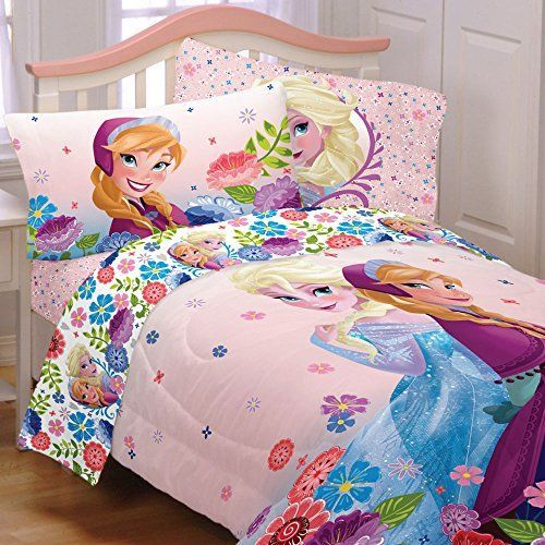 4pc Disney Frozen Twin Bedding Set Elsa and Anna Floral Breeze Comforter and Sheet Set * You can get additional details at the image link.