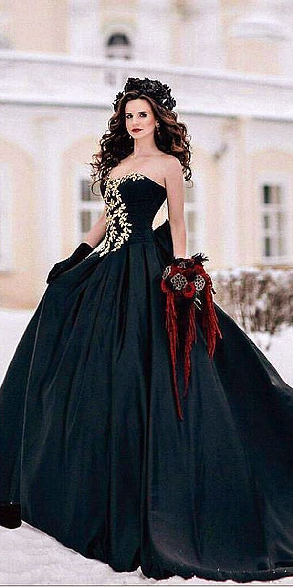 18 Gorgeous Black Wedding Dresses ❤ See more: http://www.weddingforward.com/black-wedding-dresses/ #wedding #dresses