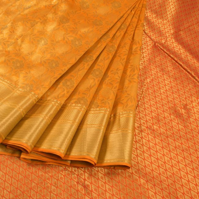 Buy online Handwoven Yellow Kanjivaram Silk Saree With Floral Motifs 10013825