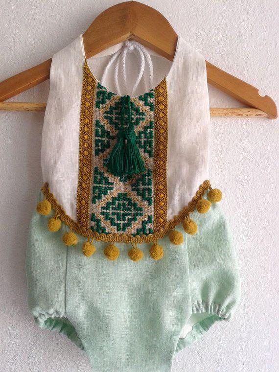 Mint Green Baby Girl Romper/ Linen Boho Chic by VivaBohoStyle