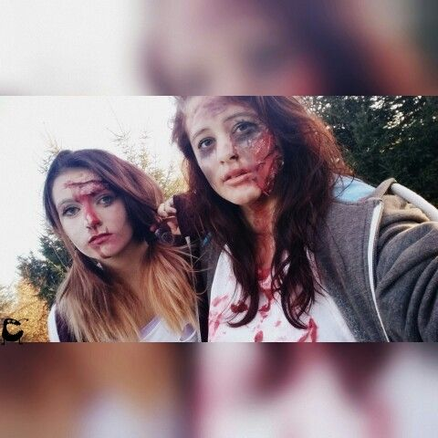 This was halloween.i dit both of us..was my first try so it's not the best.. We were taken pictures all day and were outside the whole day so we look like crap an the wound is almost destroyed..but it was a nice day..