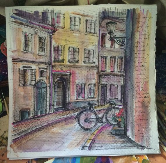 The streets of Barcelona by Cecileart on Etsy