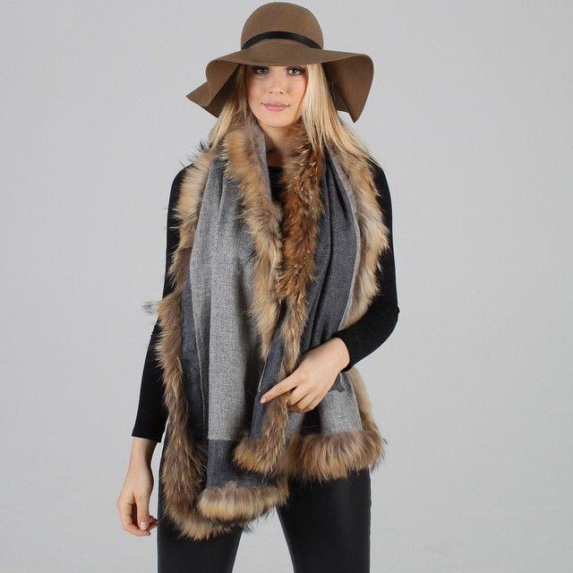 PoppyLondon Reversible Cashmere Fur Trimmed Scarf. We