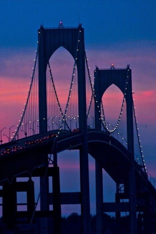 Sunset in Claiborne Pell Newport Bridge, Between Jamestown and Newport, Rhode Island