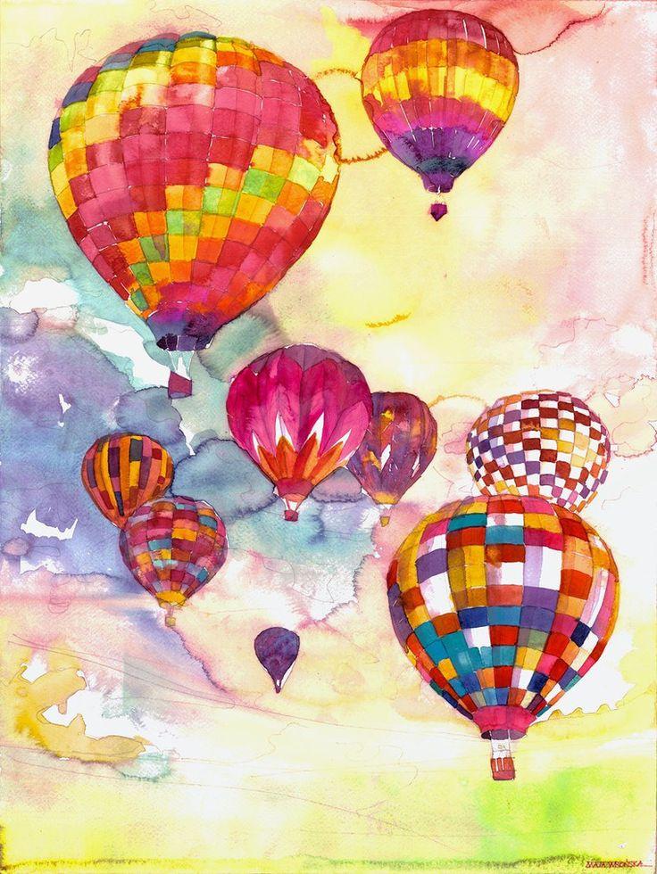 Картинки с шариками воздушными и цветами рисованные, ручной работы марта