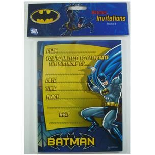 942 - Batman Invitations. Pack of 8  For more details, please visit www.facebook.com/popitinaboxbusiness