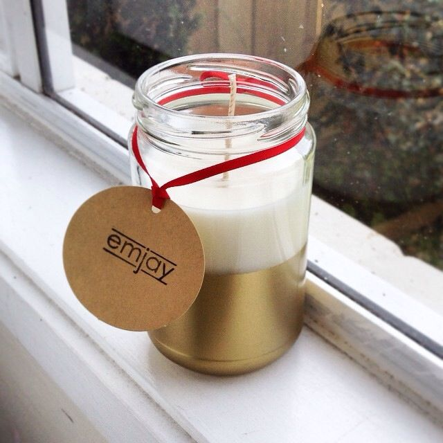 Christmas scented candle - decorated with gold spray paint