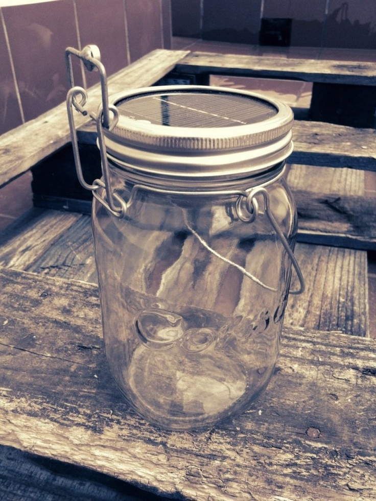 Consol jar with LED light and a solar panel - must get for oustide entertaining!
