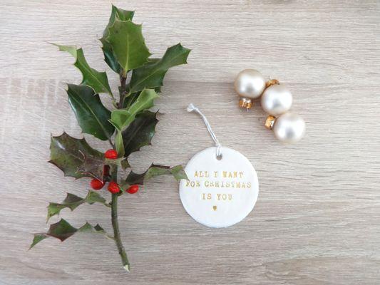 Décoration de Noël, boule de noël all i want for christmas is you by fée plaisir 4€