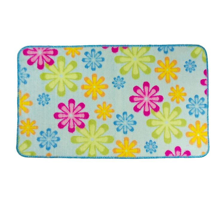 Very Limited Stock Clearance Item Multi-coloured Bath Mat Two Designs to choose from Blue base or Yellow Orange Pink Blue base 75cm x 43 cm Polyester with a PVC backing. Price to sell fast, be quick this is a clearance item.  If you buy two mats the freight is charged as one item, might as well buy two.
