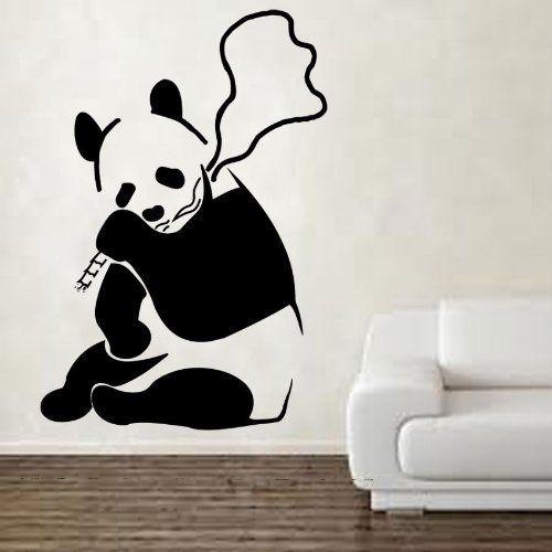 Kult Kanvas Sticker mural Vinyle Motif panda fumant de lherbe par ...
