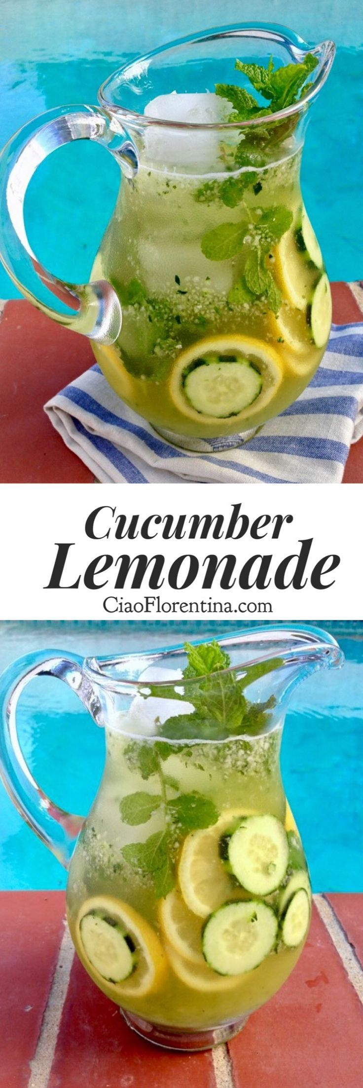 Cucumber Lemonade ~ A healthy cucumber lemonade with mint and honey, spiked with a little vodka. Thirst quenching, and refreshing! | CiaoFlorentina.com @CiaoFlorentina