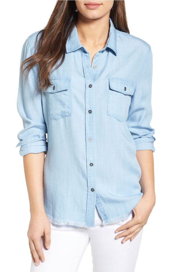 Main Image - RD Style Frayed Chambray Shirt