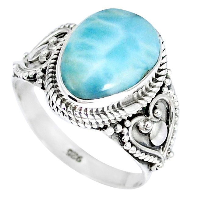 NATURAL BLUE LARIMAR 925 STERLING SILVER RING JEWELRY SIZE 7.5 K50521 #Jewelexi #Ring