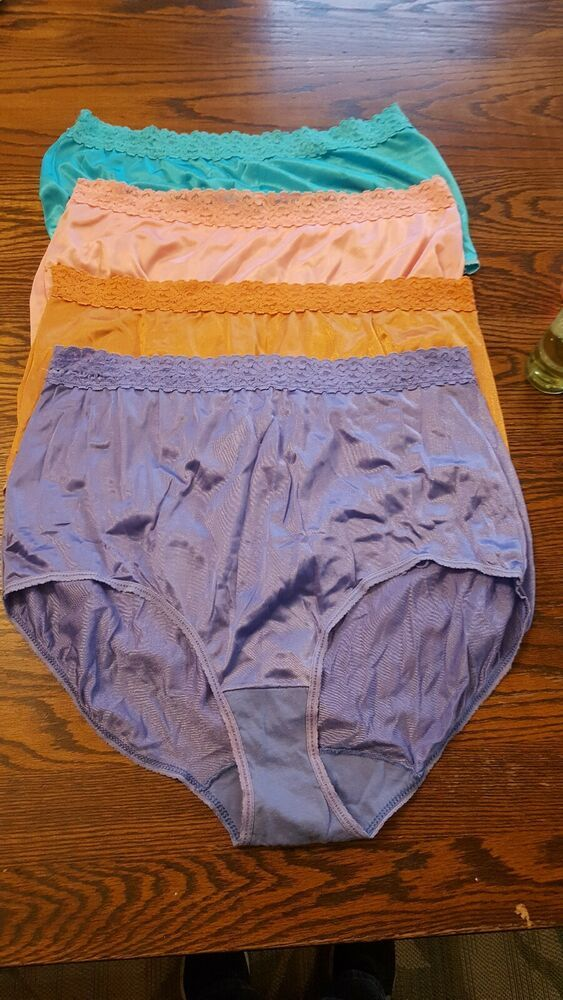 74d28fe2085e (eBay Ad) Lot Of 4 Vintage Nylon Fruit Of The Loom Panties Cotton Gusset