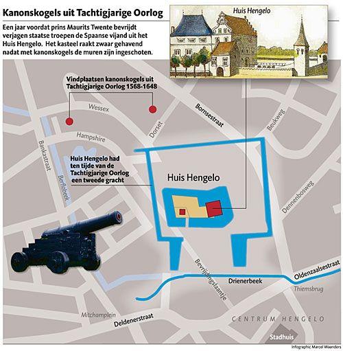 De Bornsestraat in Hengelo voert grotendeels over de enorme buitengracht van het huys Hengelo. Hier komen twee beken samen en zorgen voor veel water. Hengelo lag strategisch tussen de Spaanse vestingstad Oldenzaal en kasteel Twickel bij Delden.
