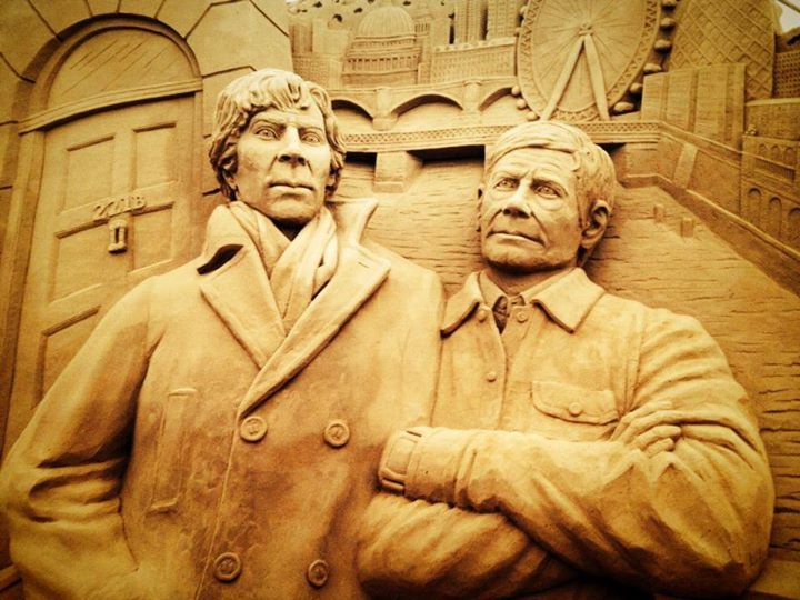 Sherlock Holmes Sand Sculpture At Sandworld Weymouth Dorset 2014 With  Benedict Cumberbatch And Martin Freeman As