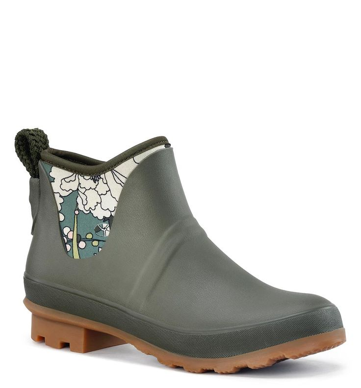 Mano Ankle Rain Boot - Olive Flower Power in Shoes boots & booties at  Sakroots
