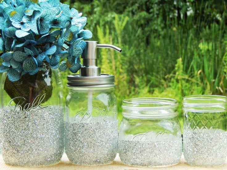 Mason Jar glitter bathroom set, glitter dipped mason jar, mason jar soap dispenser, silver mason jar bathroom organizer, housewarming gift by GlitterChicCo on Etsy https://www.etsy.com/listing/277185390/mason-jar-glitter-bathroom-set-glitter