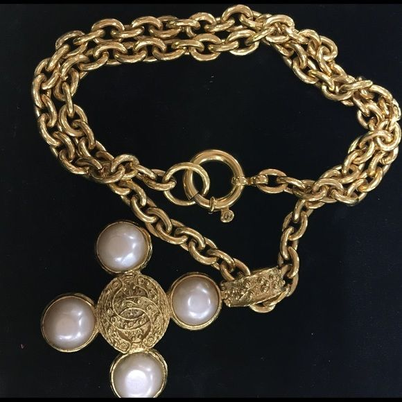 """Chanel authentic gold pearl cross chain necklace Authentic. Gold tone. Approx 24"""" long. Cross is approx 2 in by 2 in not including the bale. Filigree detailing. Excellent condition. Faux pearl cabochons. Cc on clasp. CHANEL Jewelry Necklaces"""