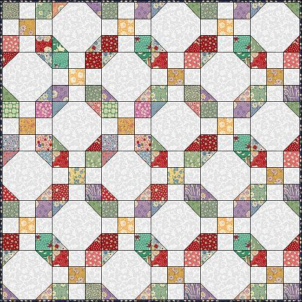 9 patch and snowball pattern useful for using up all our left over fabrics and makes a gorgeous Quilt !