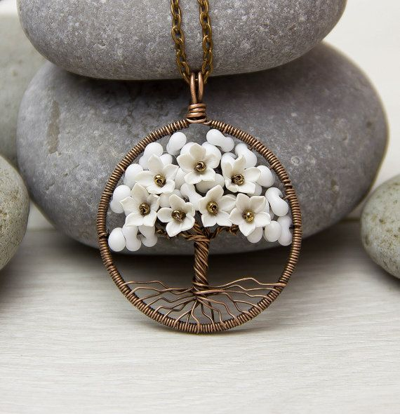 Tree-Of-Life Necklace Pendant Copper Wire Wrapped Pendant White Necklace Brown…
