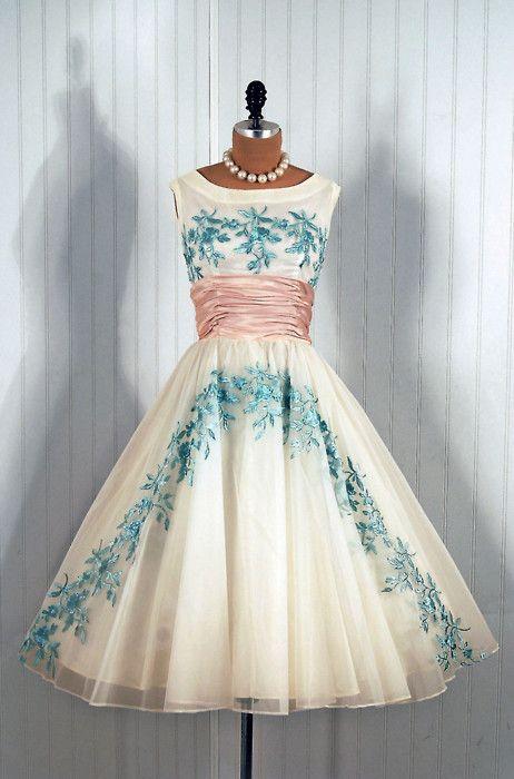 1950's Vintage Embroidered Blue-Rose Garden White Chiffon Princess Circle-Skirt…