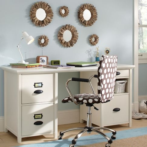 Knee Hole Desk: I chose a desk for the kids room so it gives them somewhere to do their homework. Hopefully against a wall like how it is so a TV cannot distract them. I'd keep it white so it matches the bedframe.: Kids Room, Bedroom Office, Flower Mirror, Desks, Chatham Large, Desk Hutch, Bedroom Ideas