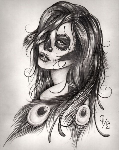 Not my taste but very cool. sugar skull tattoo | I want this added to my side/thigh piece!