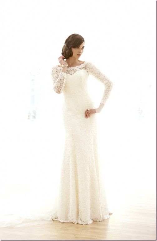 Fitted Lace Wedding Dress with Sleeves! Add a couple crystals and it's perfect!