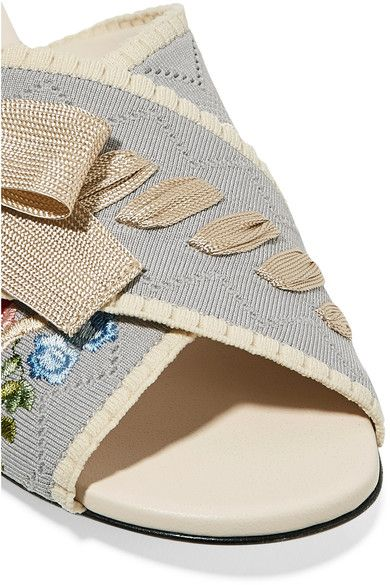 Fendi - Bow-embellished Embroidered Stretch-knit And Leather Slides - Light blue - IT37.5