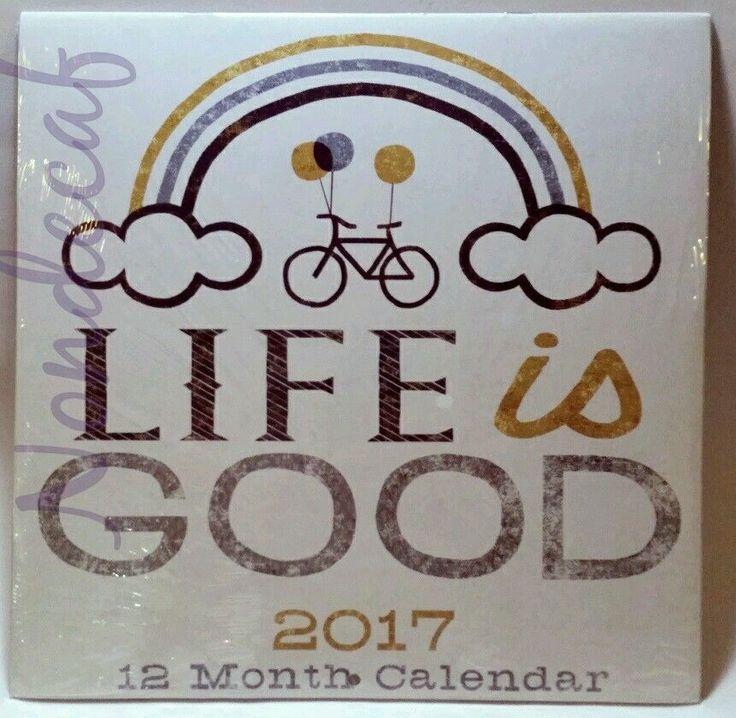 2017 12 Month Wall Calendar LIFE IS GOOD Inspiration Photos Stamp Art 11x11