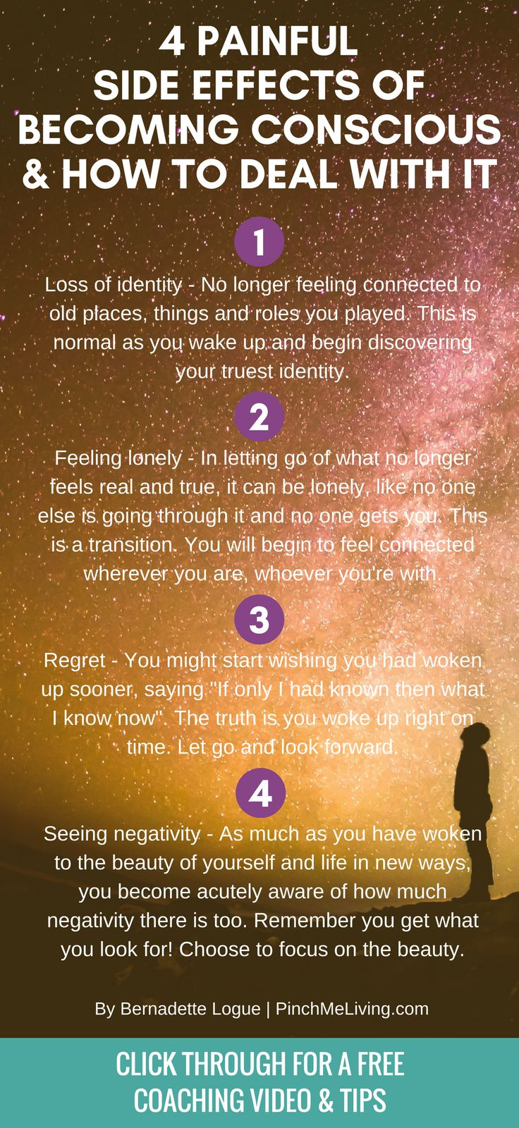 """When you """"wake up"""" and become more conscious, there are common challenges. It's like a right of passage to face these 4 painful side effects of being a conscious human being. Click through for the free coaching video on how to deal with them. Plus download the free affirmations audio of 166 Spiritual Truths to support your conscious life!"""
