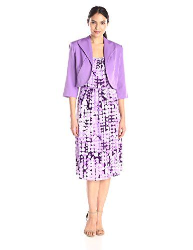 Maya Brooke Womens Bubble Dot Print Jacket and Dress Set Purple 16 * You can find more details by visiting the image link.