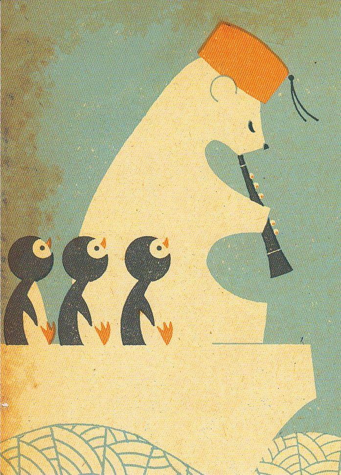 Polar bear & Penguins Unknown illustrator