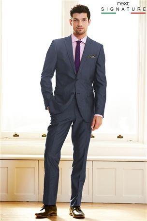 Buy Signature Blue Slim Fit Suit: Jacket from the Next UK online shop