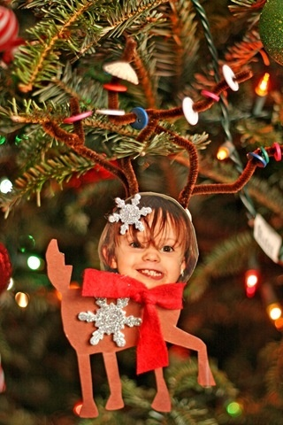 Christmas Tree Decorations with Photographs classroom-arts-and-crafts. this would also be cute with snow men, penguins, etc.