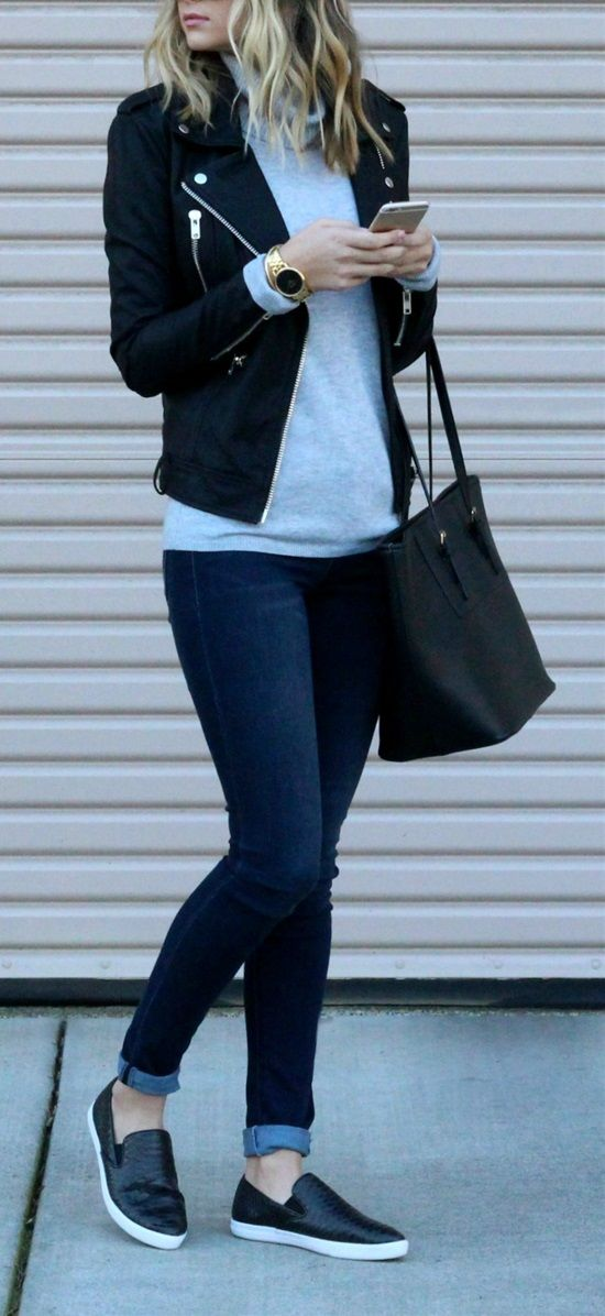 Black Leather Jacket A Grey Jersey Blue Jeans & Leather Loafers