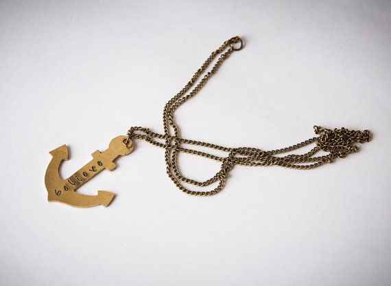 Necklace with anchor and personalized word or by SilviaWithLove