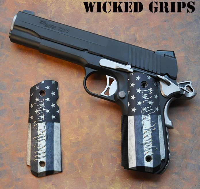 "SIG 1911 FASTBACK GRIPS ""WE THE PEOPLE"" - Wicked Grips - SIG NIGHTMARE WE THE…"