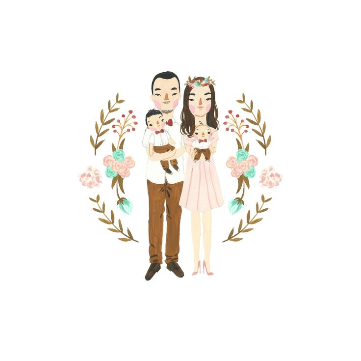 Custom family illustration portrait by Sasa Khalisa - Gouache paint on smooth surfaced watercolor paper