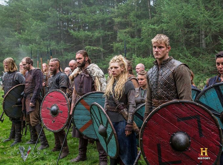 Vikings (series 2013 - ) Torstein, Floki, Ragnar Lothbrok, Rollo, Lagertha and Bjorn Lothbrok.