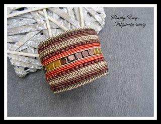 #sutasz #soutache #biżuteria #jewellery #bransoleta Troszkę etniczna, troszkę jesienna bransoleta w kolorach beżu, brązu i ceglastym. Szeroka, symetryczna i prosta