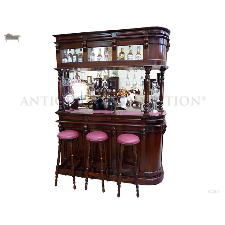 W=170cm D= 55cm H=225cmPart of our wonderful range of antique reproduction furniture is this victorian style full bar with cabinetry. This traditional style home pub bar is full of character and style. Featuring cabinet top with glass display, bar base with 4 draws and shelving, victorian design corbels and solid mahogany construction. This amazing bar is the perfect addition to your home. Enjoy high tea's, dinner parties, cocktail nights and weddings with style and class. ...