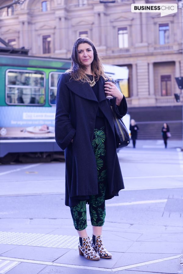 Creative smart casual outfit with palm print pants and leopard print boots via www.BusinessChic.com.au